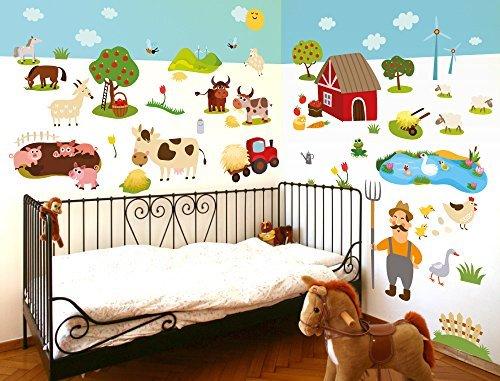Murales Cameretta Bambini : Adesivo murale parete per cameretta bambini motivo fattoria xl