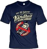 rohuf Design Funshirt - Kindheit ohne Handy - Ich War Dabei - Lustiges T-Shirt Zum 50. Geburtstag INKL. Urkunde Als Geschenk Set, Größe:L