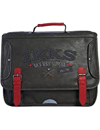 IKKS Cartable Rock Rebel Trolley, 41 cm, Multicolore (Rouge/Noir)