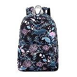 Joymoze Modischer Freizeitrucksack für Mädchen Jugendliche Schulrucksack Frauen Aufdruck Rucksack Geldbeutel (Schwarze Blume)