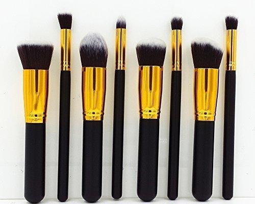 8 pcs pinceau de maquillage cosmétiques Fondation Blending Blush Eyeliner Poudre pour le visage Brosse Kabuki - Black Gold