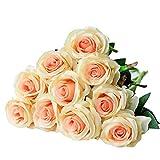 Ramo de rosas artificiales de seda Justoyou para arreglos florales para el hogar, la oficina o las bodas.