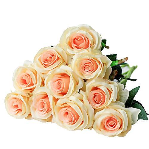Justoyou - rosa finta con stelo, singola, bocciolo in seta, per bouquet da sposa o decorazioni champagne