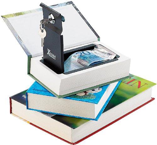 Xcase Büchertresor: Buchtresor 3er-Set: Stahltresore getarnt als Bücher (echtes Papier) (Buchsafes mit echten Papierseiten)