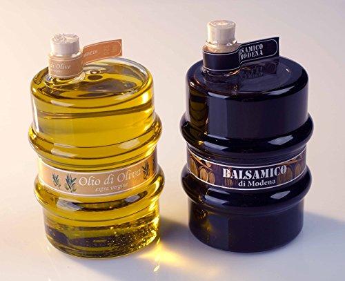 Geschenkset ital. Balsamico di Modena IGP und ital. Olivenöl extra vergine (jeweils 350 ml) in edlem Glasfass, inkl. Geschenkverpackung