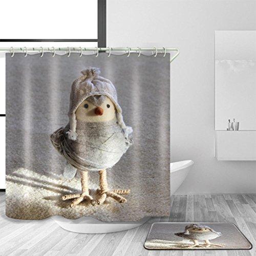 HJMTRY Bad Zubehör Duschvorhang und Bad Matte Set Polyester Wasserdicht Mildewproof Cartoon Chick Pattern Bad Dekoration mit 12 Kunststoff Haken Multi Size , 180 x 240 cm