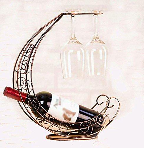 Winracer Luna barca Wine Rack Retro creativo decorazione 2 Vetro Calici Stand Holder bottiglia di vino - Artigianale Di Vetro Ornamento