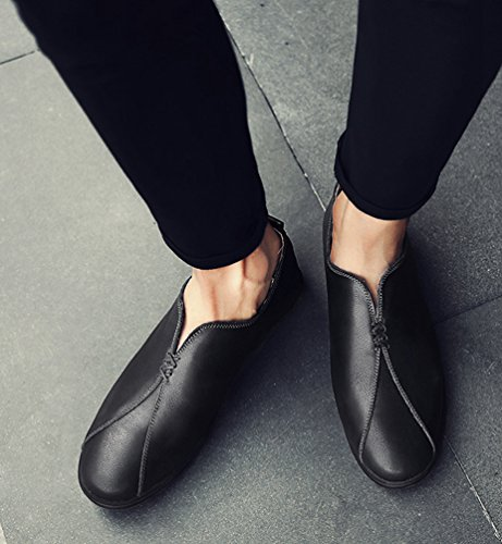 Yiiquan Uomo PU Pelle Suture Punta Tonda Scarpe Da Barca Mocassini Moda Slip On Basse Casual Shoes Nero