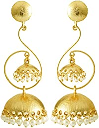 Spargz Rajasthani Tribal Style Gold Plated Pearls Jhumki Earrings For Women AIER 977