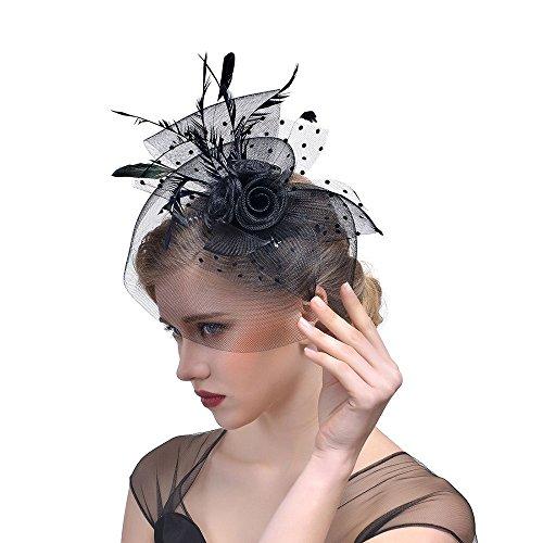 Likecrazy Damen Fascinator Hüte mit Feder Mädchen und Frauen 20er 50er Jahre Hochzeit Kopfschmuck Haarschmuck Cocktail Tea Party Kirche Accessoire Netz Mütze …