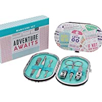 Adventure Awaits, manicure set in padded clasp case, suitable for travel