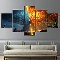 mauroan Peinture Moderne 5 pièces Burning World of Warcraft Bataille pour Azeroth Jeu Affiches Toile Peinture Wall Art pour la décoration intérieure