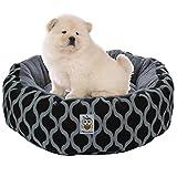 Nunubee Lippen Muster Rund Baumwolle Hundebetten Hundematten Hundehütten Katzenbett Betten für Haustiere Katzen Schwarz (S)