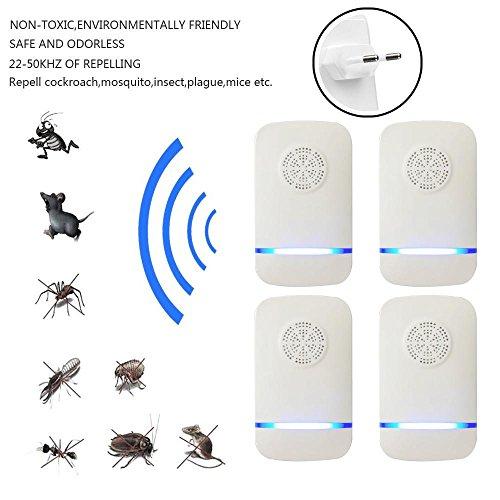 Kobwa 2018última 4Aparato antiinsectos, Pest Repeller por ultrasonido contra moscas Indoor Ratones, cocina, moskitos, Roedores, Cucarachas, Hormigas, arañas, pulgas, 100% seguro para personas y mascotas
