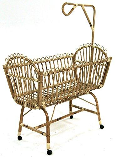 Culla lettino sabrina con ruote in vimini bambù rattan e giunco naturale per bambino neonato bimbo bimba