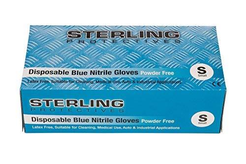 Gocableties, Einweg-Handschuhe, Hohe Qualität, Blau, Nitril,100erPack,puderfrei, AQL 1,5,Premium-Handschuhe, blau, Small - Size 7 - Protective Pack