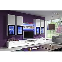 Moderne Wohnwand Elfanosi Mit LED Beleuchtung Hochglanz Anbauwand  Schrankwand Fernsehwand Fernseherschrank Weiß Weiß   Grau Weiß