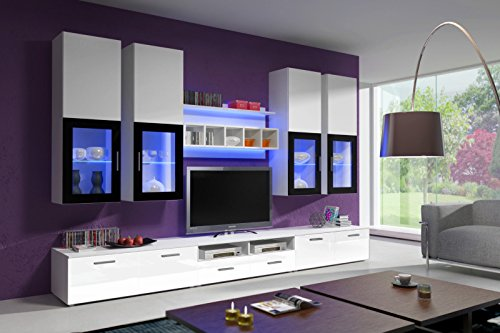 ➥ Wohnwand Weiß Hochglanz ➟ Jetzt in über 5000 Wohnwänden stöbern!