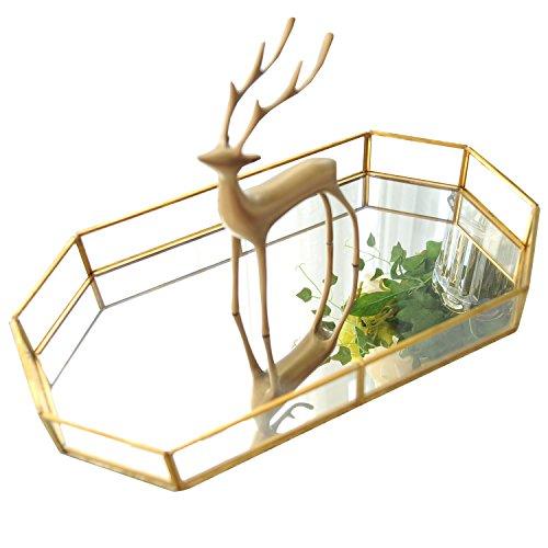 Plateau de présentation décoratif - En verre - Style ancien - Pour parfums / maquillage / bijoux / accessoires de salle de bain / bougie