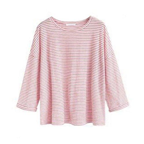Check Baumwoll-bluse (Plus size damen tops VENMO Damen Lose Asymmetrisch Jumper Sweatshirt Pullover Bluse Oberteile Oversize Tops Damen Bluse Loose Pullover Langarm O-Neck Striped Fashion Shirt Tops (XXXL, Pink))
