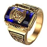 XMZBN Joyería de Acero Inoxidable Plateado Azul circón Classic 1973 Walton Tigre Anillos de graduación de Secundaria de Oro para Hombre del Anillo