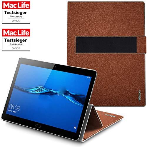 reboon Hülle für Huawei MediaPad M5 10 Tasche Cover Case Bumper | in Braun Leder | Testsieger