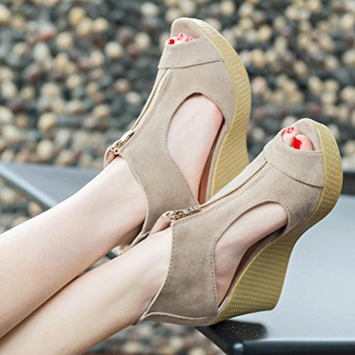 Hunpta Frauen Schuhe Sommer Sandalen Casual Peep Toe Platform Wedges Sandalen Schuhe Khaki