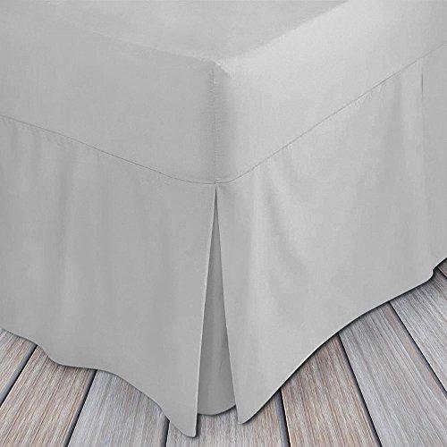 Drap-housse en coton égyptien 200 fils plissé avec jupe de lit, Silver, Simple