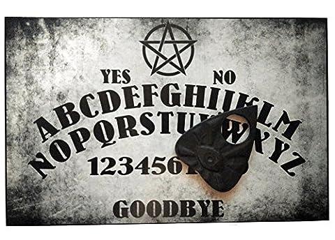 Planche ouija sous forme de pentagramme en bois en format A4 fini à la main avec l'œil qui voit tout, thème païen et wiccan