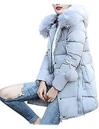 Chaqueta Mujer Sólidas Invierno Talla Grande Slim Plumas Abrigos largo caliente Cuello de Pelo con capucha