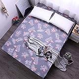 zlzty Bettlaken mit Gummiband Blaue Blume Bedruckte Bettwäsche Matratzenbezüge Spannbetttuch-Sets, Einzelbettbezug, Bettwäsche @ Flamingo_100x200x25cm