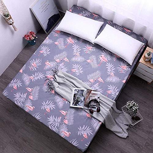 zlzty Bettlaken mit Gummiband Blaue Blume Bedruckte Bettwäsche Matratzenbezüge Spannbetttuch-Sets, Einzelbettbezug, Bettwäsche @ Flamingo_150x200x25cm -
