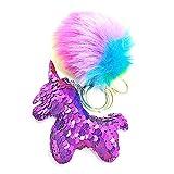 QearFun personalisierte Einhorn Schlüsselanhänger für Mädchen und Plüsch Fluffy Rainbow Fur Pailletten Schlüsselanhänger Handtasche Anhänger Dekorationen für Kinder, Sis Geschenk (Lila)