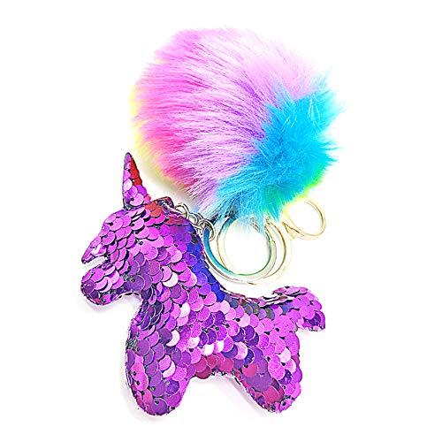 QearFun personalizados unicornio llaveros para niñas y felpa mullida arco iris lentejuelas llaveros bolso colgante decoraciones para niños, regalo de SIS (Morado)