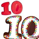 Backformen-Set Zahl 1 und 0 für 10. Geburtstag/Hochzeitstag, Silikonbackformen