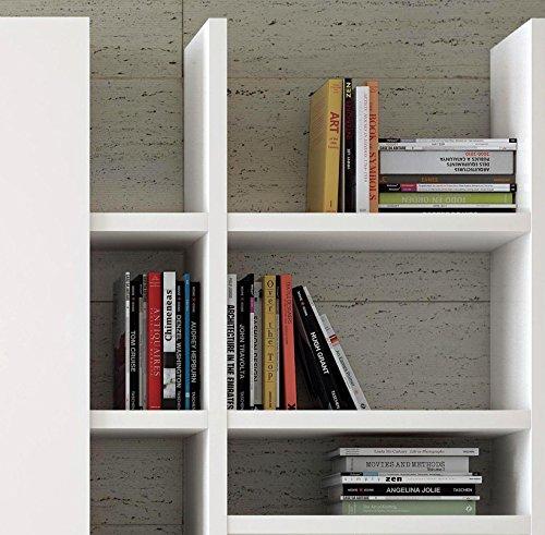 Wohnwand Bücherregal CD DVD Regal TOLEO238 Hochglanz weiß LED - 3