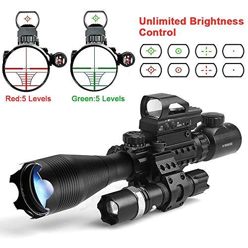 StyleA Luftgewehr Zielfernrohr C4-16x50EG mit Holographic Absehen rot/grüner Punkt für 22 mm Weaver Picatinny Schiene Montage Jagd (12 Monate Garantie)
