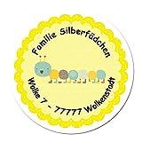 24 individuelle Aufkleber für Kinder - Motiv Raupe - personalisierte Sticker - Adresse Schule Einschulung