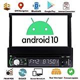 Simple Din Car Stereo Navigation GPS 1 Din Radio Bluetooth 7 Pouces écran Tactile Flip Out DVD Player Headunit 1 Go + 32 Go WiFi avec Universal USB/AM/FM / MP5 caméra arrière MirrorLink ODB2 SWC...