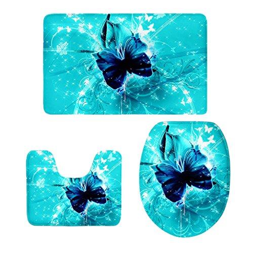 Fenteer 3-Teilige Schmetterling Stil Badezimmer Matte Badteppich Badvorleger Duschmatte Teppich - 14