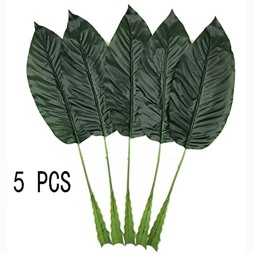 on Tropical Leaves,5 Pcs Artificial Fake Plant Leaves for Hawaiian Luau Summer Party BBQ Wedding Home Decorations (Dark Green) ()