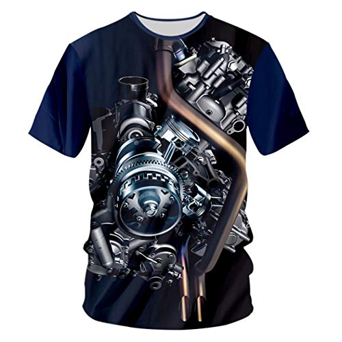 Männer Casual Cool Print Motor Schwermetall 3D T-Shirt Hip Hop Streetwear Punk Style Tops Unisex Motor Heavy Metal XXXL