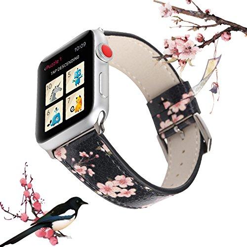 X-cool für Apple Watch 44mm 42mm Armband, Schwarze Pflaumenblüte Leder Armband für Damen Frauen, für iwatch Series 4 3 2 1