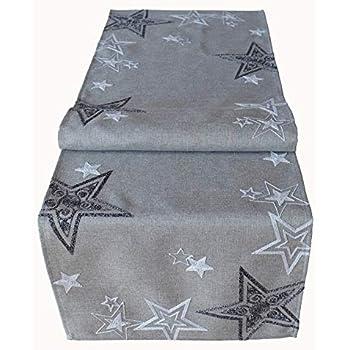 matches21 Tischl/äufer Mitteldecke Tischw/äsche Schneeflocken Weihnachten Foto Druck rosa grau 40x160 cm 100/% Polyester