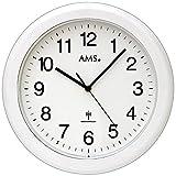 AMS 5957 Wanduhr Funk Badezimmeruhr wasserdicht weiß Baduhr Rund Schwarze Zahlen