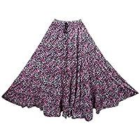 Mogul Womens Pesant Skirt Pink Printed Full Flared Maxi Skirt