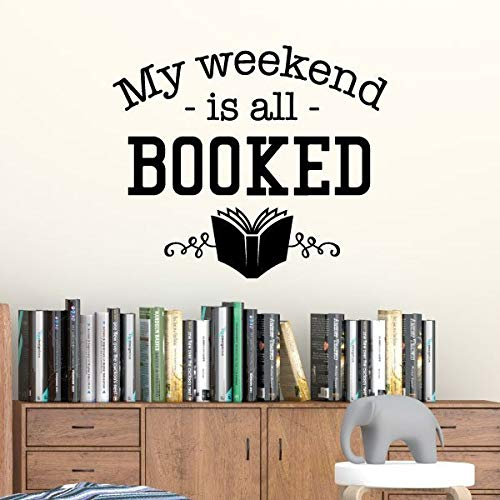WWYJN Book Quotes Vinyl Wall Decal Motivational Library Classroom Decoration Weekend All Booked Quote Reading Wall Art Decals Gray 57x48cm - Rennrad 48cm