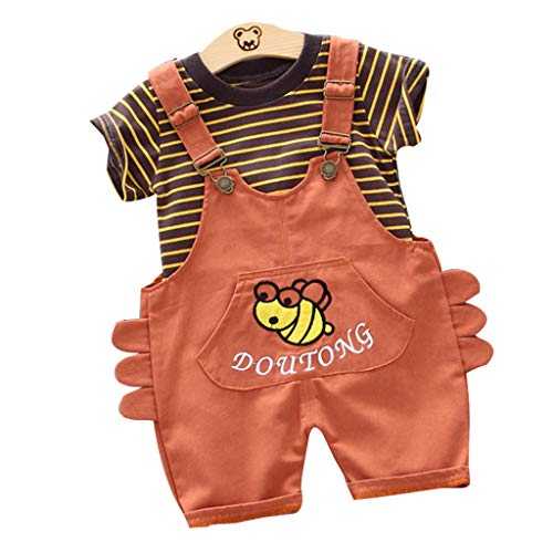 Dasongff Kleidung Kinder Mädchen Jungen Baby, Baumwolle Kleinkind Kinder Niedlichen Cartoon Gestreift T-Shirt Overall Mit Hosenträger Kleine Biene Hose Outfits Set