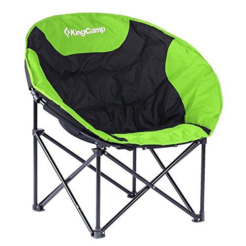 KingCamp Moon Chair Campingstuhl, Grün/Schwarz, 80 x 80 x 40 cm (Sitzfläche Runde 47)