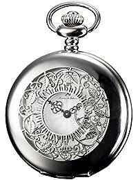 KS KSP051 - Half Hunter Series Reloj de Bolsillo Cuarzo, Analógico, Caja Plateada